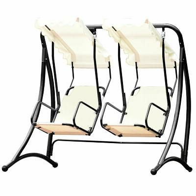 2 Swing Patio Outdoor Hanging Loveseat Canopy Swing