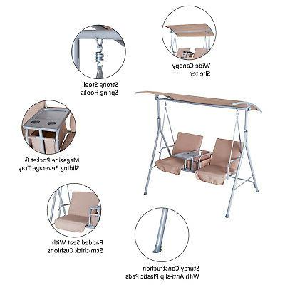 Outsunny 2-Person Outdoor Porch Swing Double with Canopy