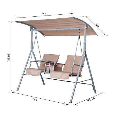 Outsunny 2-Person Outdoor Patio Porch Double with Stand