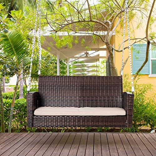 Outsunny Outdoor Weather Resistant Hanging Porch Swing Chair with - Brown