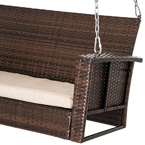 Outsunny 2-Person Resistant Wicker Porch Swing with - Dark Brown