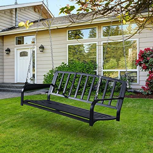 "Outsunny 50"" Weather Steel Porch Swing - Black"