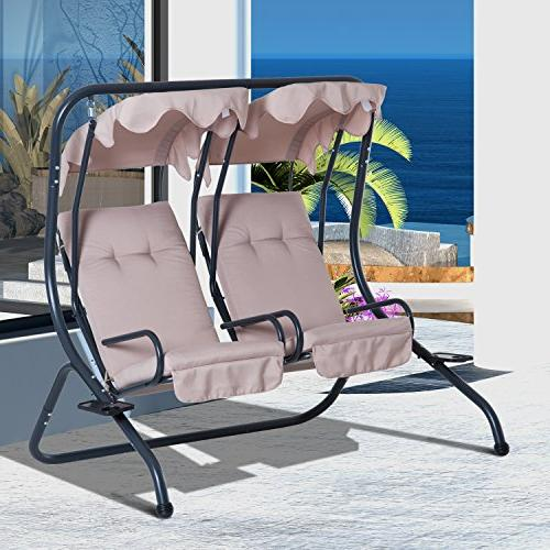 Outsunny 2 Seat Outdoor Swing Chairs with Handrails and -