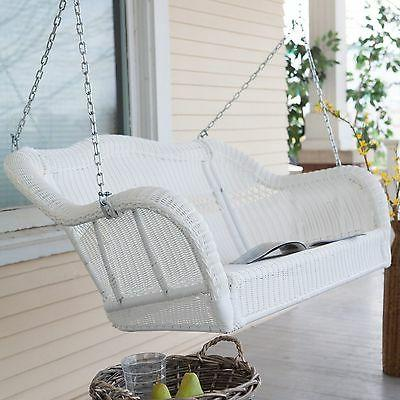 2 seat white resin wicker outdoor porch