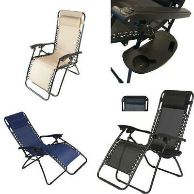 2 X Folding Zero Gravity Lounge Tray Outdoor