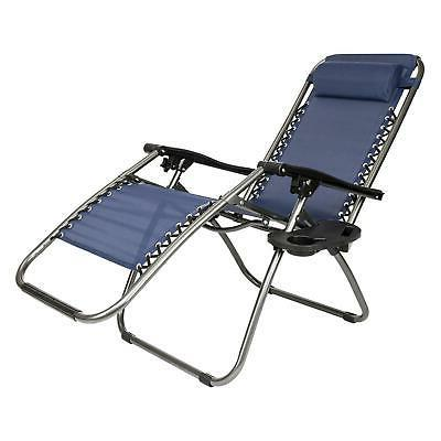 2 X Folding Gravity Lounge Chairs+Utility Tray Outdoor Patio