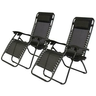 2 x folding zero gravity lounge chairs