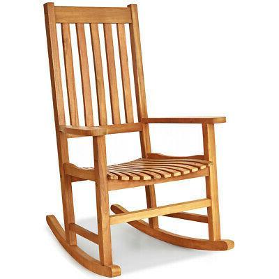 2PCS Chair Porch Rocker Garden Teak