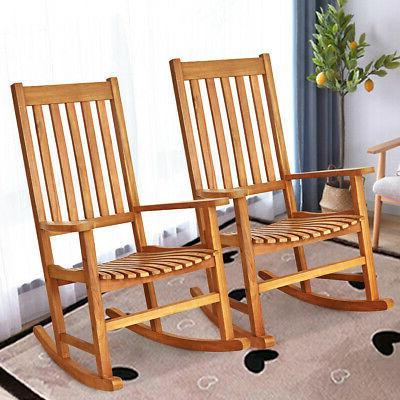 2PCS Wood Rocking Chair Porch Rocker Teak