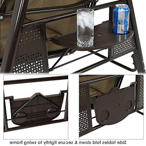 Sunnydaze 3-Person Outdoor Patio Swing Tilt Durable Pillow Beige