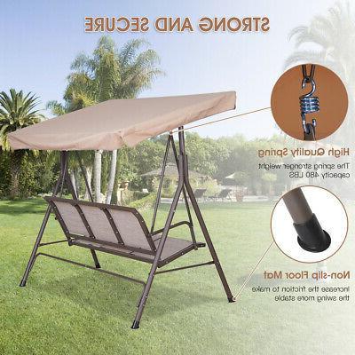 3-Person Outdoor Canopy Porch Patio Frame Seats