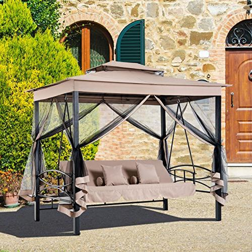 Outsunny 3 Patio Daybed Swing with and Mesh Walls