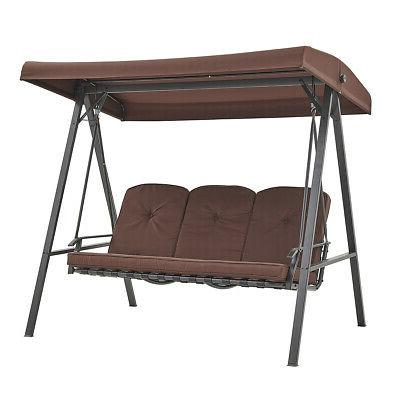 Porch Hammock Bench Lounge Steel 3-seat Padded w/