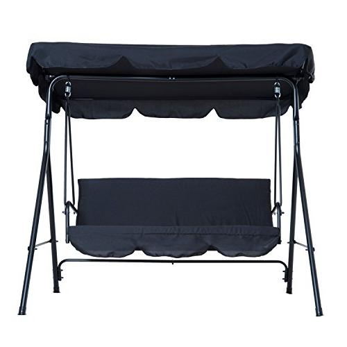 Outsunny 3-Person Steel Outdoor Porch Canopy - Black
