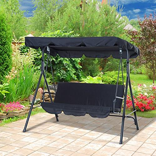 Outsunny Steel Outdoor Porch Sling Fabric Black