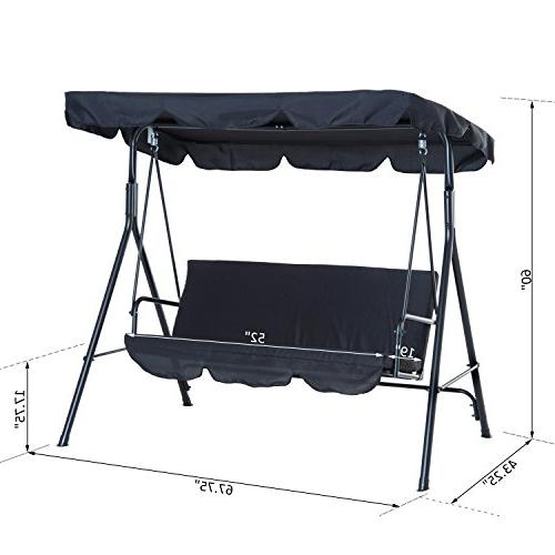 Outsunny Porch Sling Fabric Canopy Black