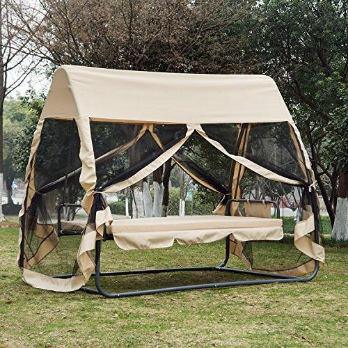 Outsunny 3 Covered Convertible Chair/Bed with Mosquito