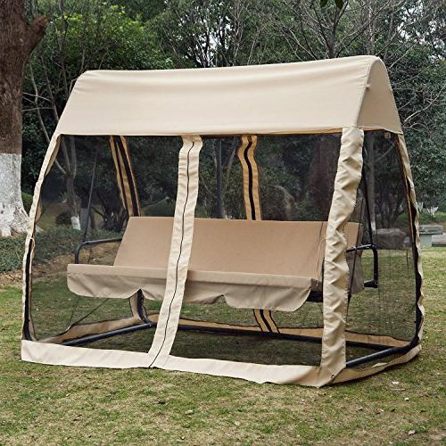 Outsunny Covered Convertible Swing with