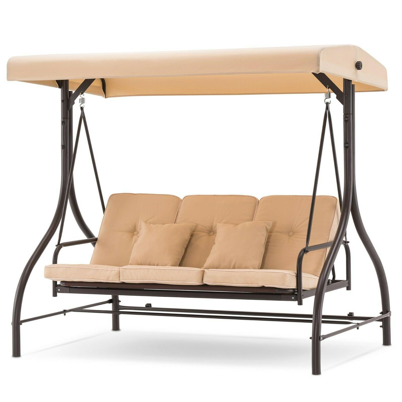 3 seat outdoor patio swing chair canopy