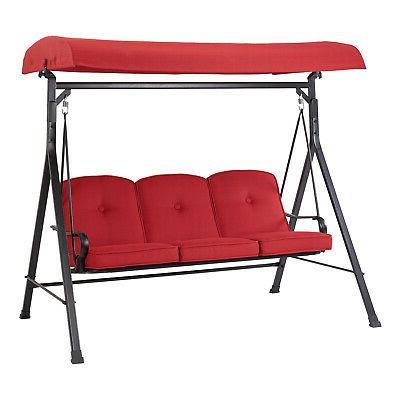 3 seat porch deck swing cushion canopy