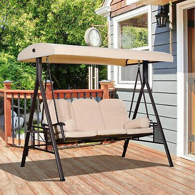 3 seat steel outdoor canopy patio cushioned