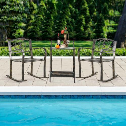 3PCS Metal Outdoor Porch Chair Garden Patio