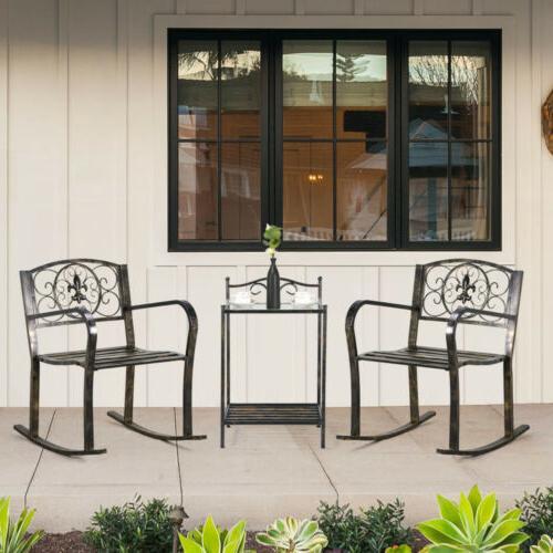 3PCS Metal Bistro Sets Outdoor Front Porch Rocking Chair Gar