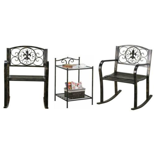3pcs metal outdoor front porch rocking chair