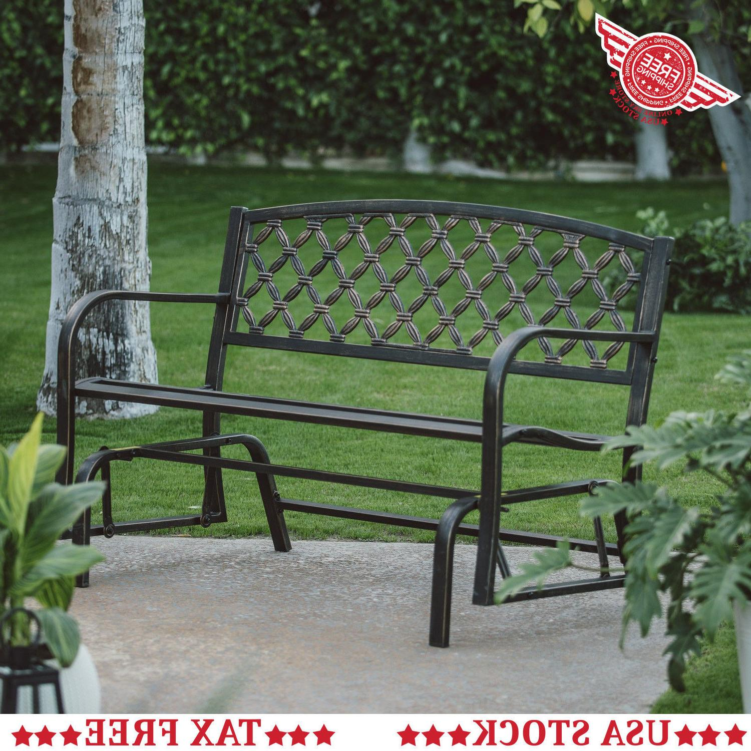 4 ft outdoor metal glider bench patio