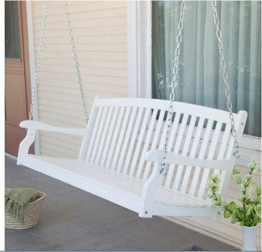 4 Ft Porch Swing Bench White Wood Patio