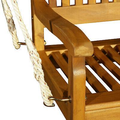 """48"""" Acacia Wood 2 Porch Bench Swing"""