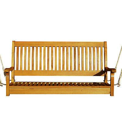 """48"""" Acacia Wood Person Slatted Porch Bench"""