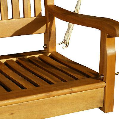 """48"""" Person Slatted Outdoor Porch Bench Swing"""