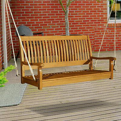 48 acacia wood 2 person hanging slatted
