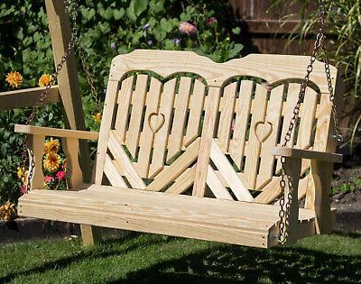53 treated pine heartback porch swing