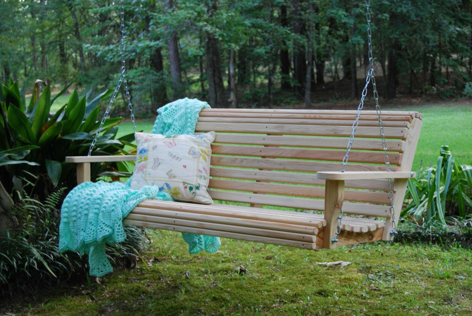 5ft cypress wood deluxe roll porch bench