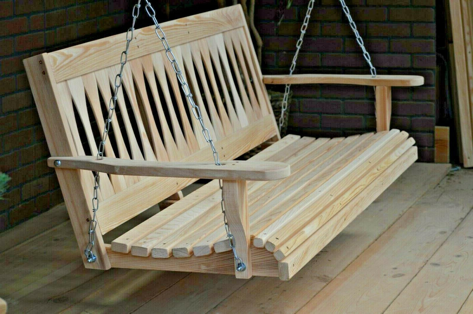 5ft cypress wood diamond porch bench swing