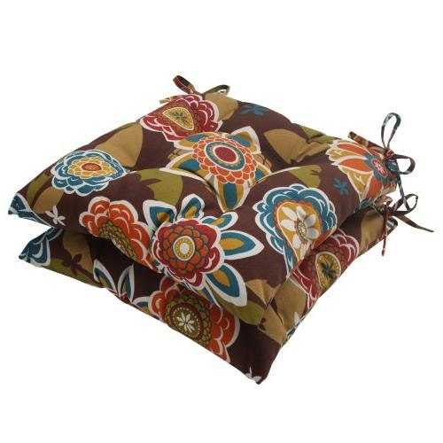 Pillow Perfect Outdoor Annie Tufted Seat Cushion, Chocolate,