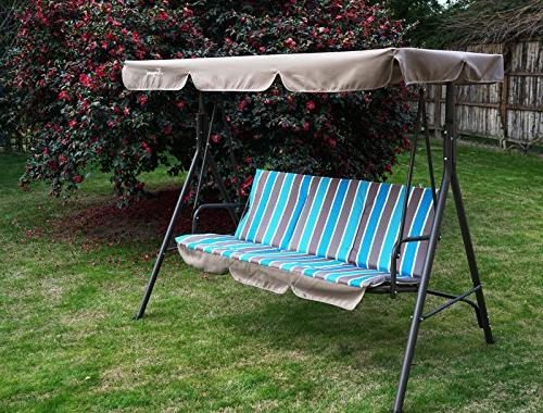 Kozyard Alicia Patio Swing Chair 3 Cushion Seats Strong Weather Resistant Steel