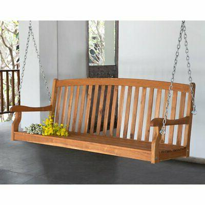 amherst curved back porch swing natural stain