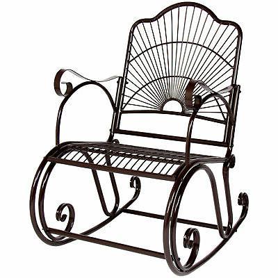 BCP Patio Iron Scroll Porch Rocker Rocking Chair Outdoor Dec