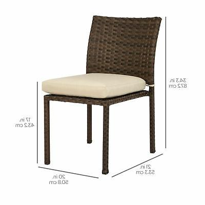 BCP Set of Stackable Patio Wicker Chairs w/ Cushions,