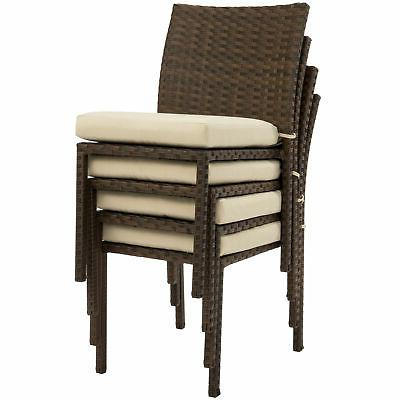 BCP 4 Stackable Outdoor Patio Chairs