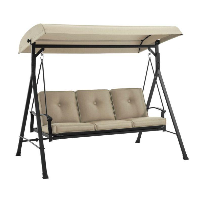 Beige Outdoor Garden Seat Patio Porch Swing Heavy Cushions