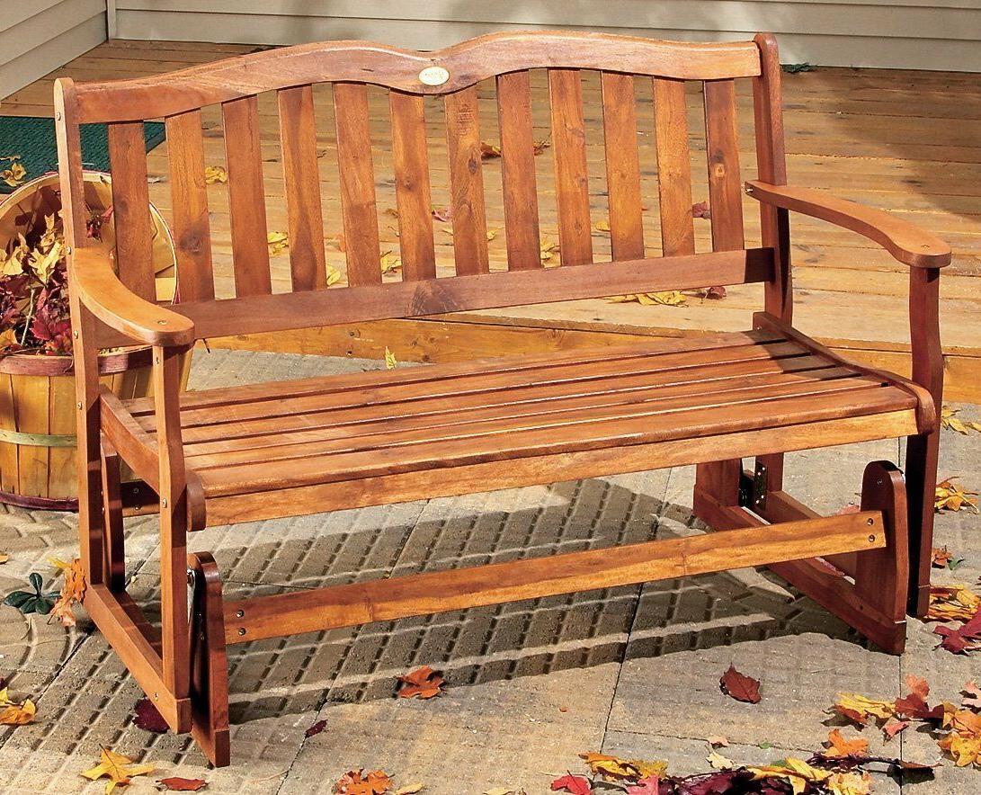 Outdoor Wood Glider Bench 2 Deck