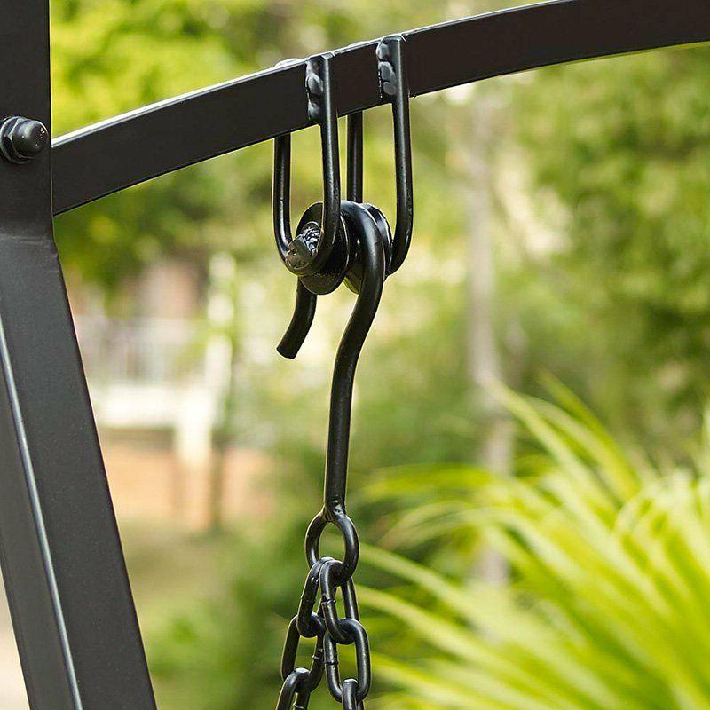 Black Metal 2-Seat Swing Set Home Furniture