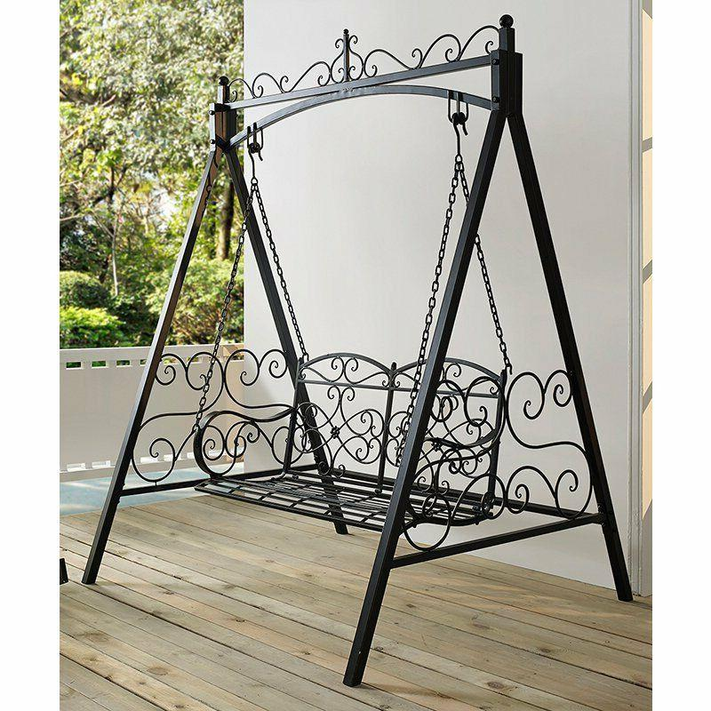 black metal 2 seat patio swing stand