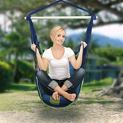 blue hanging rope chair porch