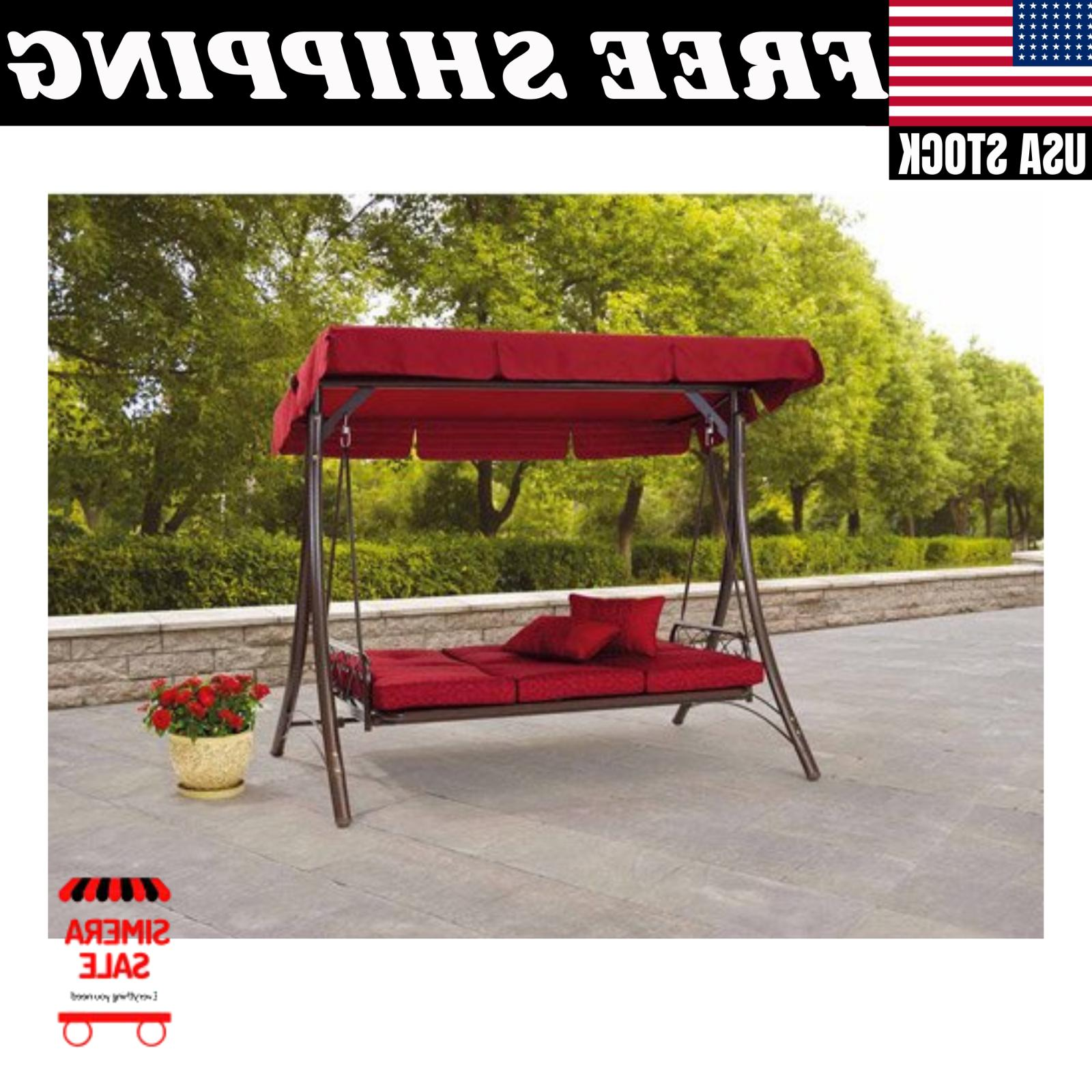 Mainstays Callimont Park 3-Seat Adjustable Canopy Recliner Porch Swing Bed