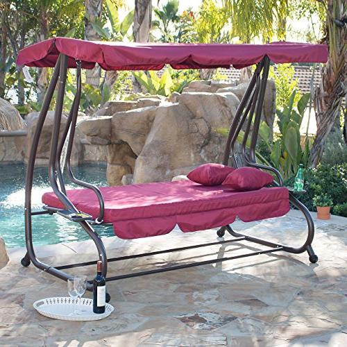 Belleze Outdoor Canopy Swing Motion Gilder Converting Rocking 3 Seat Seater